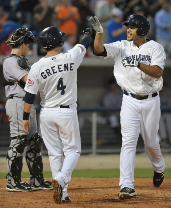 Donald Lutz, right, was the star in Sunday's thriller against the Brewers.