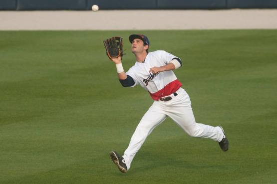Amaral makes a catch in center field against the Mississippi Braves.