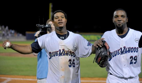 Daniel Corcino (left) and Wilkin De La Rosa (right) celebrate after no-hitting the Mobile BayBears on June 16, 2012.