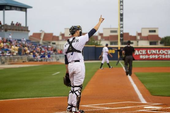 Kyle Skipworth is the sixth player to earn a Major League call-up straight from Pensacola. (Barrett McClean/Pensacola Blue Wahoos)