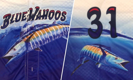 The Blue Wahoos are wearing jerseys inspired and designed by Guy Harvey.