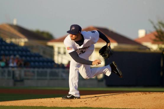 caption (Barrett McClean/Pensacola Blue Wahoos)